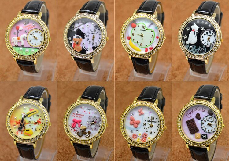 polymer clay bear horse banana chocolate girl students watch European and American fashion watches watches English furniture(China (Mainland))