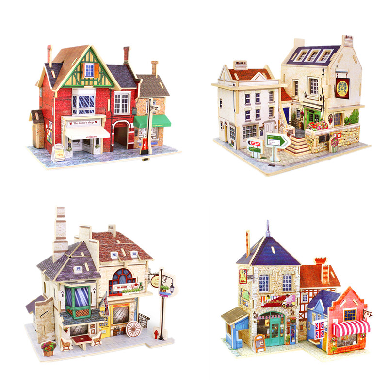 Novelty 3D Wooden Puzzle Jigsaws of UK Style House Wood 3D Mini DIY House Colorful Model Kits for Kids Creative Toys & Gifts(China (Mainland))
