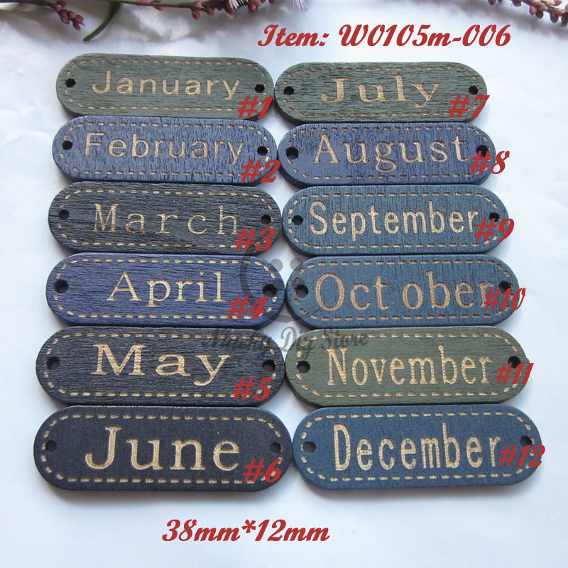 360pcs(each 30pcs) 38mm*12mm Mixed 1-12 months wood signs buttons scrapbooking material wood sign for craft material wholesale(China (Mainland))