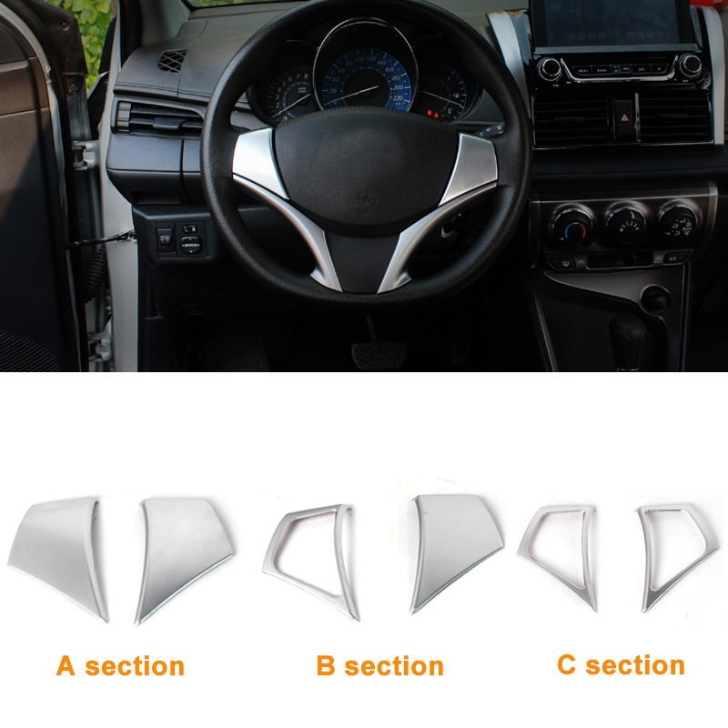 2016 Car Styling Stainless Steel Steering Wheel Sequins Cover Sequins For Toyota Vios Yaris 2014 Car Accessories(China (Mainland))
