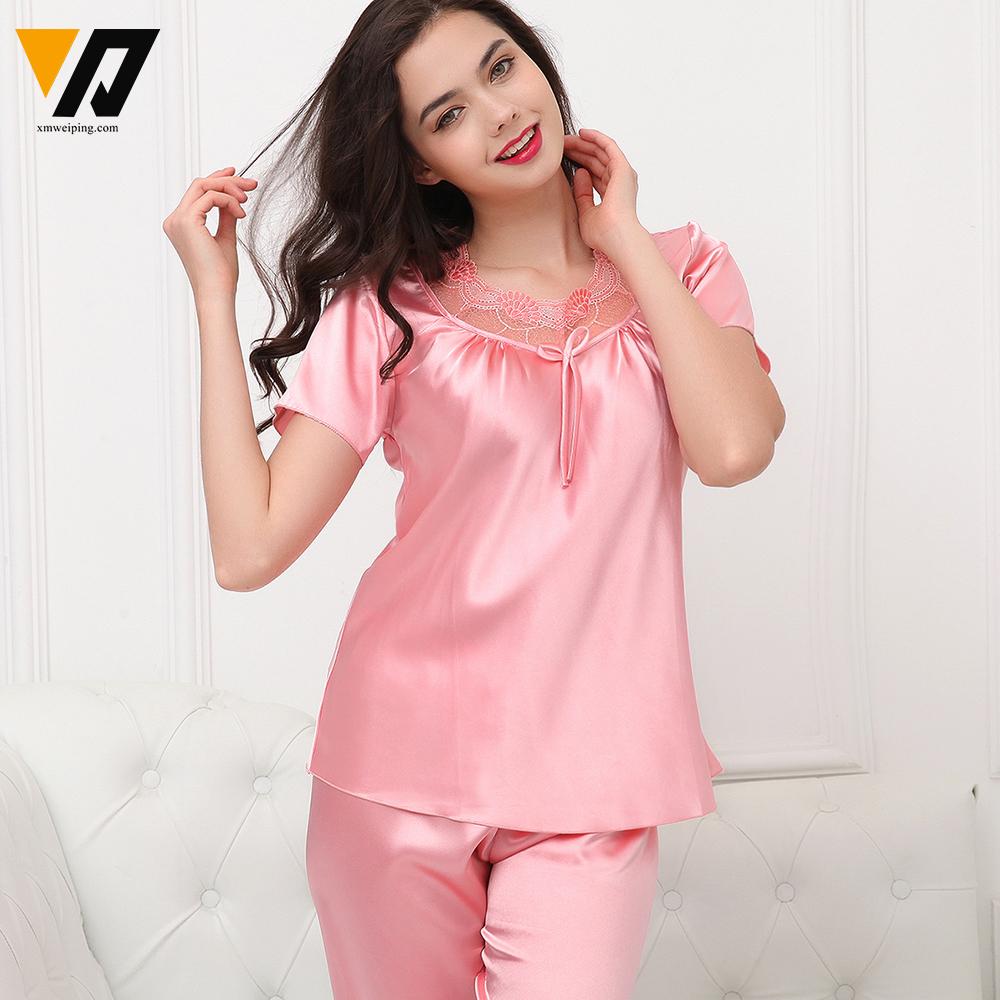 2016 Summer Silk Women Pajamas Sets of Sleepshirt & Sleep Shorts Lady Nightdress Female Home Clothes Plus Size L-3XL(China (Mainland))