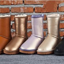 Breve Cuero Genuino de las mujeres Botas de Nieve Medio Femeninos de Algodón Botas de Piel Chales de Invierno Impermeables Botas de Nieve Zapatos Femeninos(China (Mainland))