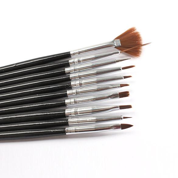 10 Pcs Preto Professional Escovas Da Arte Do Prego Da Pintura Da Escova Do Prego Escova de Unhas de Gel UV Gel Pen Projeto Pintura Escova BS88