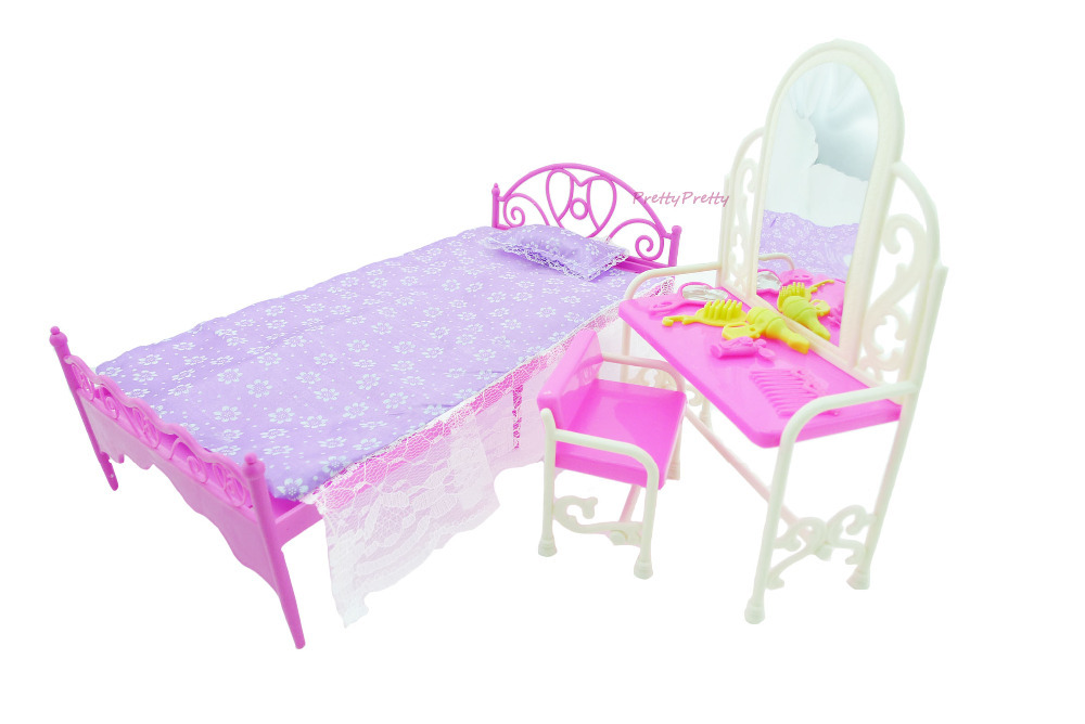 Free Shipping Doll Bed Furniture girls birthday gift dressing table accessories  for barbie doll Baby Toys(China (Mainland))
