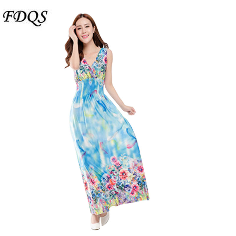 2016 New Fashion Floral Printing Long Beach Dress V-neck Backless Off The Shoulder Party Dress Elegant Lady Summer Clothing(China (Mainland))