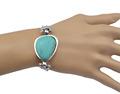 Vintage Bohemia Tibetan Silver Bracelets Bangles Antique Natural Turquoise Big Bead Bracelets Women Men Jewelry Accessoires