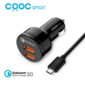 CRDC Quick Charge 3 0 Two Ports Support QC 3 0 36W USB Car Charger for