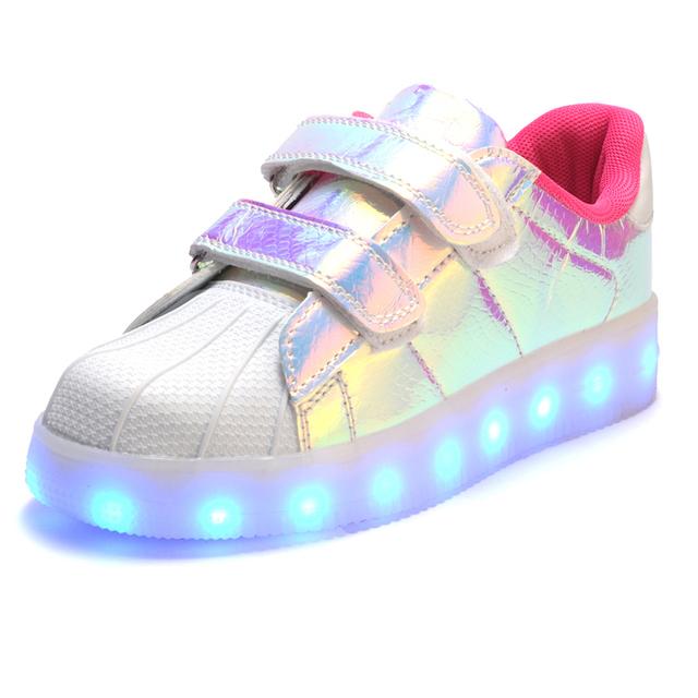 2016 Горячие Дети Shoes LED светом до Корзины Девушки Освещение Светящиеся Мальчики Shoes Lumineuse Chaussure Enfant Детские Кроссовки