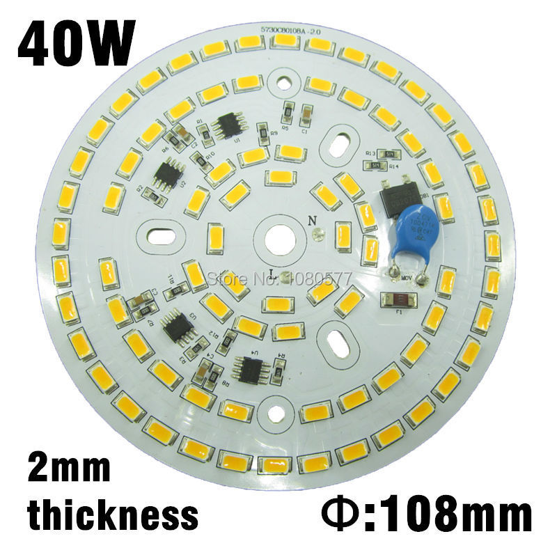 AC220v 40w led Lamp plate integrated driver transformerless pcb, SMD 5730 aluminum plate warm white/nature white/pure white(China (Mainland))