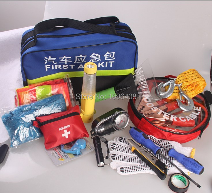 3Set DHL Free Shipping High quality Car emergency bag kit set, first aid kit +500amp booster cable+4 in 1 safety hammer+Car Fuse(China (Mainland))