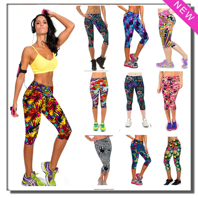Brand New Capri Women Leggings High Waisted Floral Printing Sport Pants Ladies Finess Workout Casual - ZAPA China store