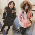 New 2016 Girls Thicken Cotton Coats Kids Cotton padded Clothes Children Mid long Style Warm Jackets