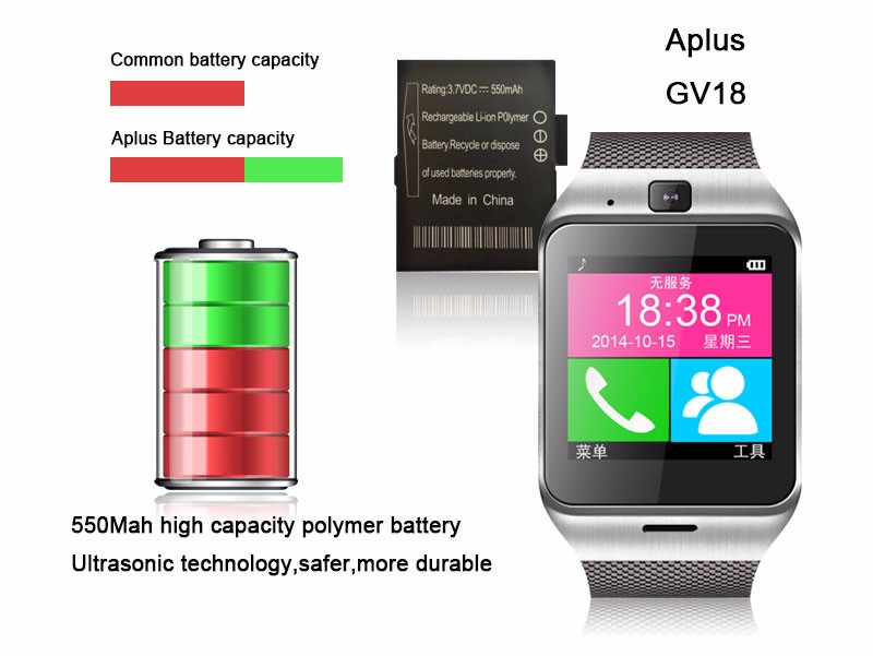 Smartwatch Gv18 Bluetooth Health  Mp3 Waterproof Pedometer Wearable Device With SIM Card Mobile GSM Android Smart Watch Phone