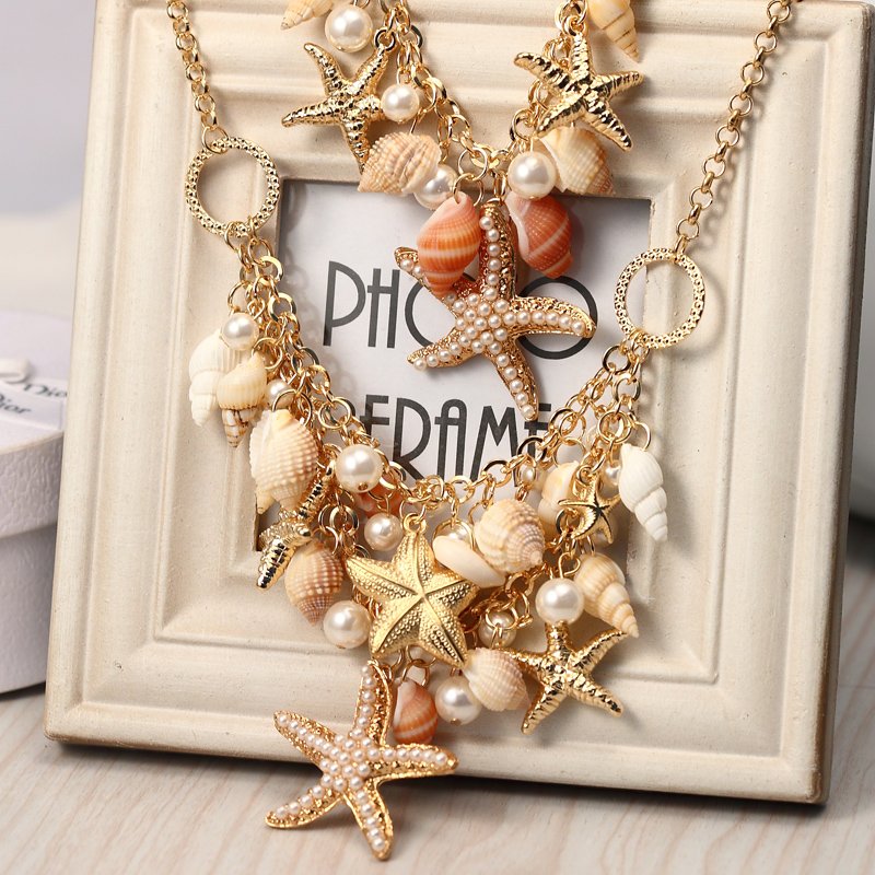Lemon Value New Statement Choker Vintage Bohemia Charms Pearl Fashion Shell Starfish Pendant Necklaces Women Jewelry Gift A431 - Sale store