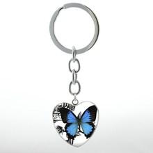 Elegante encantador azul mariposa corazón colgante llavero anillo vintage esperanza encanto insectos mujeres joyería llavero boda regalo HP111(China)