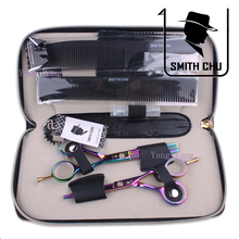 Smith Chu 5.5 in. Professional Hair Scissors set ,Straight & Thinning barber shears,colorful,6CR13,58HRC,free shipping(China (Mainland))