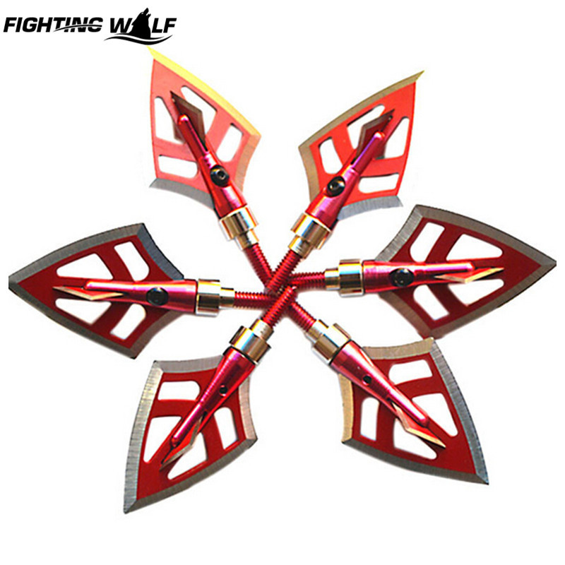 6 PCS/Lot 125 Grain Red Archery Hunting Arrowhead for Bow Quality Cheap Aluminum Sharp Broadheads Arrow Accessories for Shooting(China (Mainland))