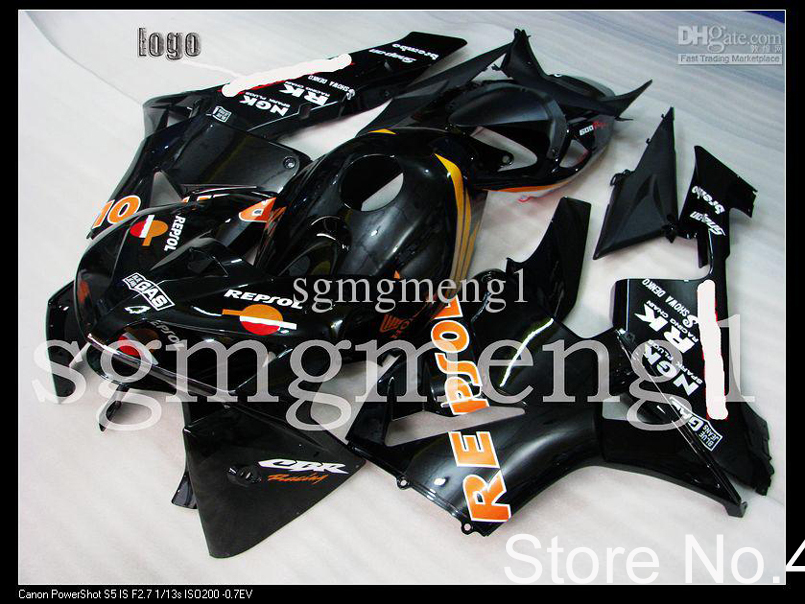 Customized fairing INJECTION MOLD Fairing Honda Fit CBR 600 RR 05 06 2005-2006 CBR600RR -black Plastic Bodywork Set - yuxia song's store
