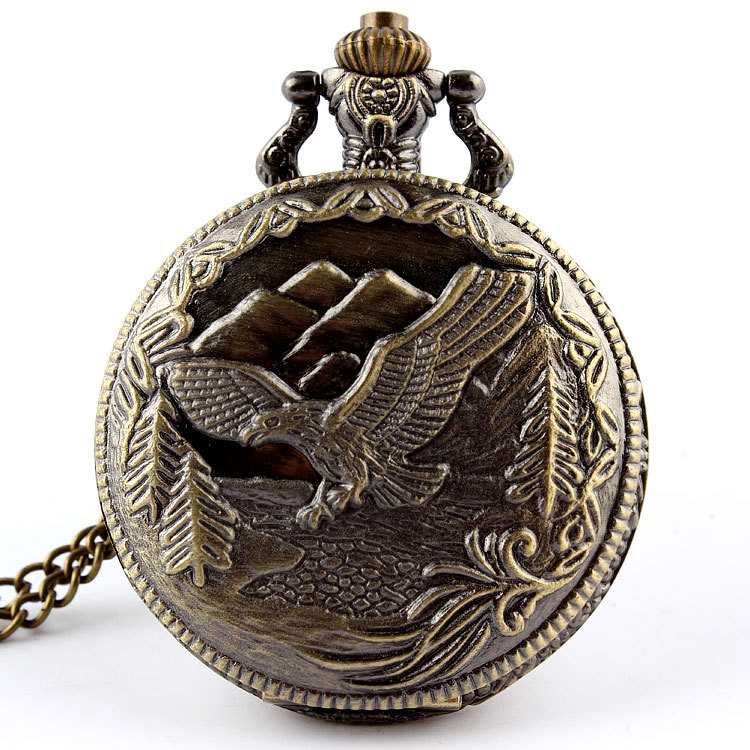 Bronze Eagle Hawk Pocket Watch Necklace Pendant Chain Women Men Gift 86 P213 - SHINNING WATCH Store store