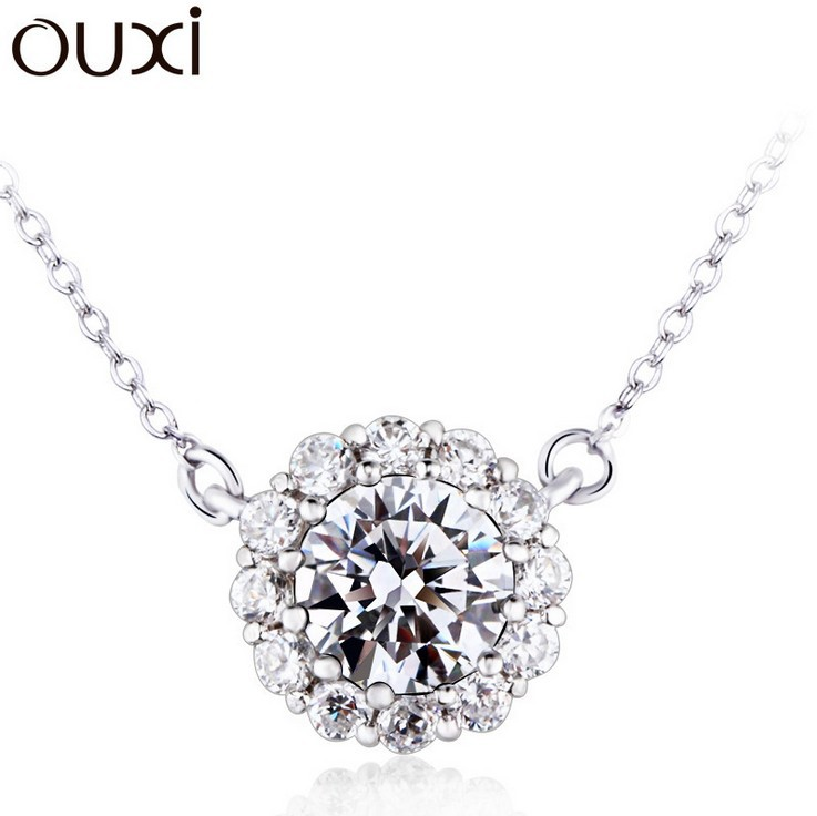 Real Pure 925 Sterling Silver Best Crystal Joyas de Plata 925 Necklace Sterling Silver Jewelry White Gold Plated NLA713(China (Mainland))