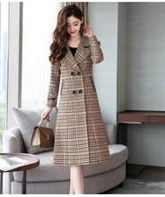 Fashion lattice woolen coat Autumn Winter Casual Ladies coats high quality Double-breasted cashmere coats Large size Women(China)