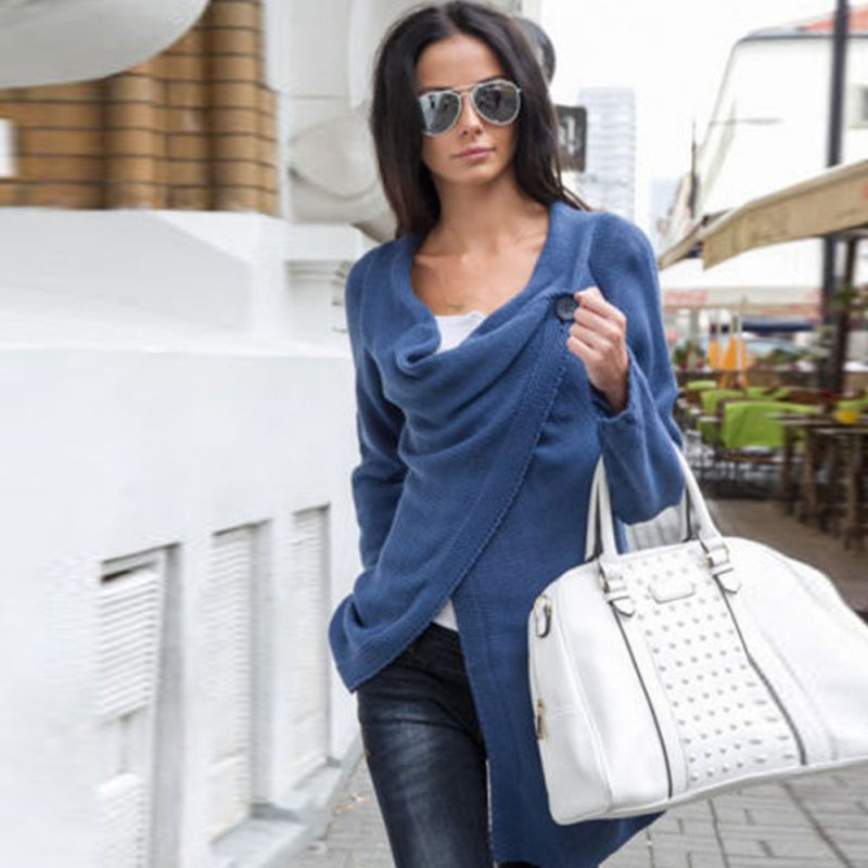 New Women Loose Sweater Outwear Long Sleeve Knitted Cardigan Jacket Coat Sweater