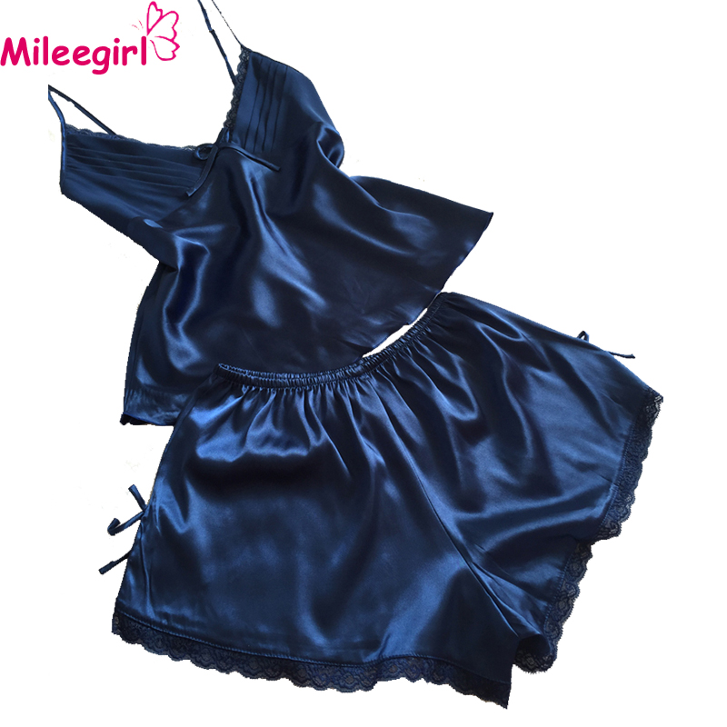 Mileegirl Sexy V-Neck Rayon Silk Pajama Sets,Plus Size XXL Women Lace Spaghetti Strap Sleeveless Sleepwear Pajamas Pyjama Femme