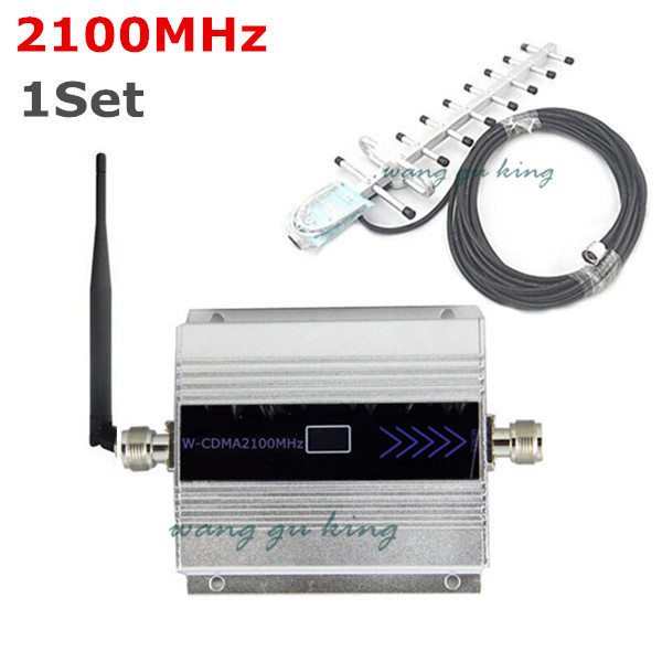 1Set LCD Family WCDMA UMTS 3G 2100 MHz 2100MHz Mobile Phone Signal Booster Repeater Cell Phone Amplifier 60db with Yagi Antenna(China (Mainland))