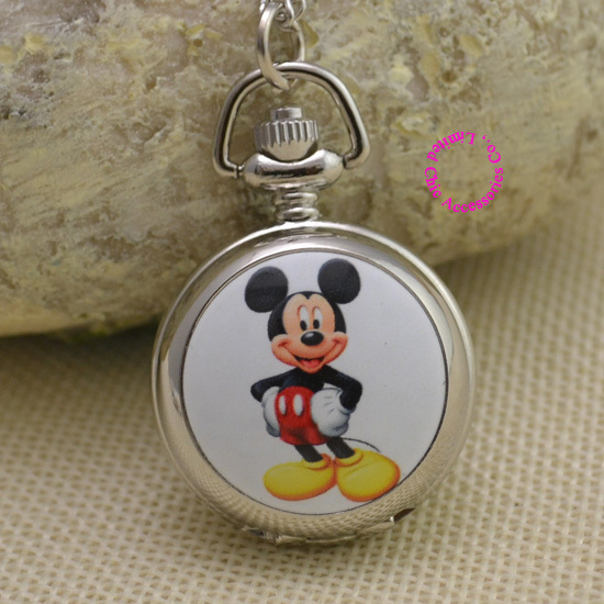 Fashion cute mouse picture quartz Pocket Watch Necklace Women Ladies girl fob watches silver antibrittle colorful mirrow - Chic Watches store