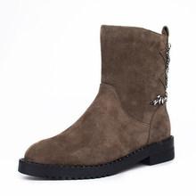 2019 Winter Schuhe Frauen Schnee Stiefel Natürliche Wildleder Kristall Dekoration Dame Warme Stiefeletten Drei Farbe(China)