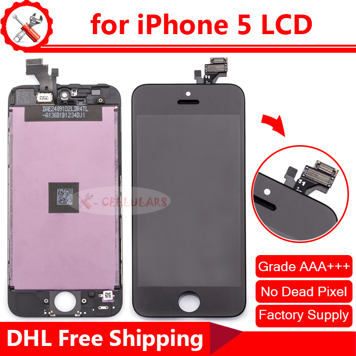 Bulk Selling 10PCS 100% New Grade AAA LCD Touch Screen Display for iPhone 5 LCD Digitizer Assembly(China (Mainland))