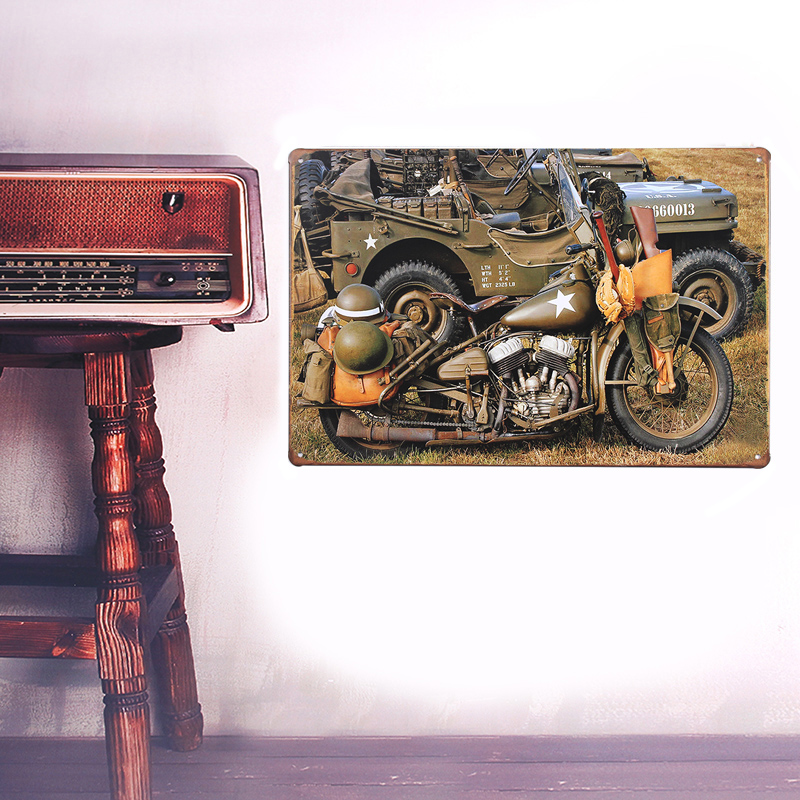 European Retro Military motorcycles sign board Wall stickers metal iron crafts picture Furnishing articles painting draw house(China (Mainland))