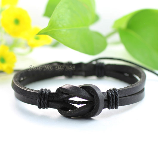 SF46- black jewelry handmade wrap braided genuine leather bracelet Hemp rope men & women 2014 - SunFlower Trade Co.,Ltd store