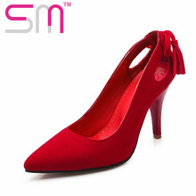 Popular Party Wedding Shoes Size 32-52 New Hot Selling Women Pumps Pointed Toe Shoes Thin High Heels Bowtie Charm Shoes Woman(China (Mainland))