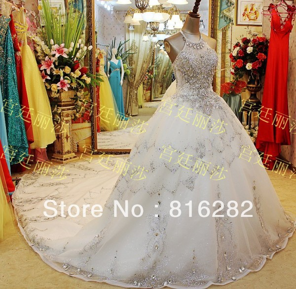 A-Line Floor-Length Cathedral Royal Train Beads Sequined Rhinestone Scoop Shoulder Lace White Voile Wedding Dresses - LANDUOER Dress Ltd. store