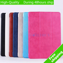 High Quality Luxury Tri-Fold Ultra Slim Magnetic Leather Book Case for iPad Air 2 For iPad 6 Free Shipping DHL UPS CPAM HKPAM(China (Mainland))