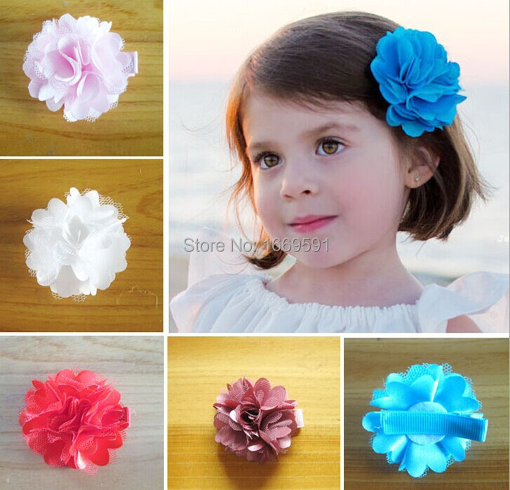 "free shipping 2"" mesh flower with lined hair clips infant hair clip baby bows 42pcs 14 color can mix(China (Mainland))"