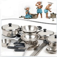 18Set Children Kids Stainless Steel Cooking Tools Play Education Kitchen Accessories Toys Cookware Pot Pan Brinquedo(China (Mainland))