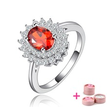 Ruby Jewelry White Gold Filled Rings For Women CZ Diamond Wedding Engagement Bague Luxury Accessories with Party Gift YJR119