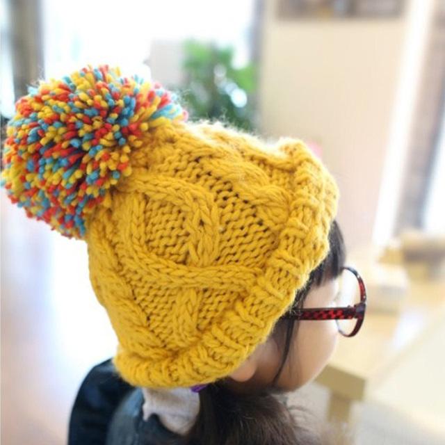 Корейский красочные большой бутон бейсболка для девочек-младенцев зимняя шапка шапка, Дети шерсть шапочка Hat плетеный лыж Cap