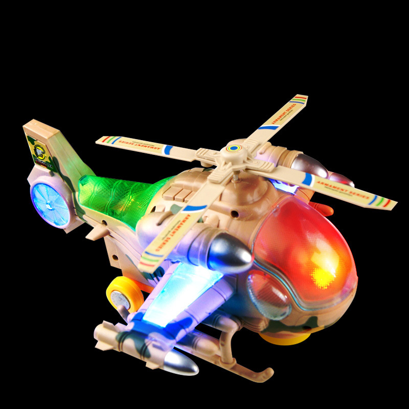 Electric universal flash light emitting blazing helicopter gunship airplane model electric toys for children(China (Mainland))