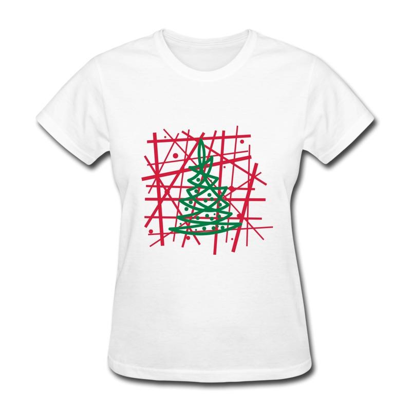 Regular Women's Tshirt modern christmas tree Swag Icons Tshirts for Ladys(China (Mainland))