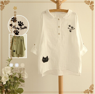 New Brand Fashion Embroidered Cotton Shirts 2015 Womens Autumn Japanese Embroidery Recreational Coat College Wind ZL0455Одежда и ак�е��уары<br><br><br>Aliexpress