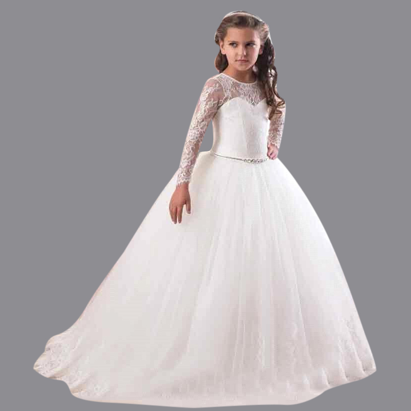 2016 White Ivory Ball Gown Long Sleeve Flowers Girls