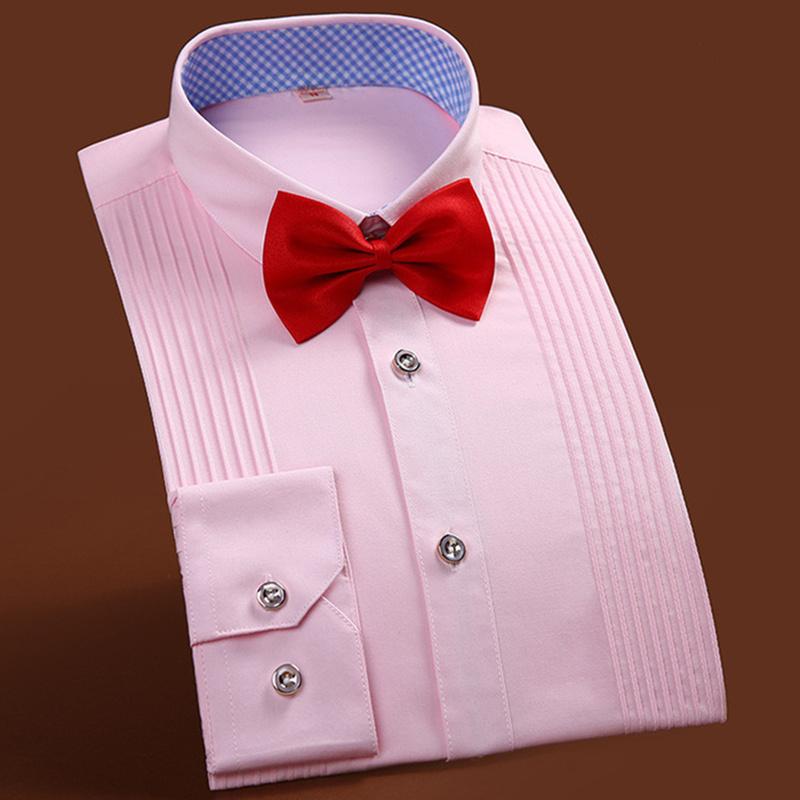 High end men 39 s tuxedo shirt solid color long sleeved shirt for High end men s dress shirts