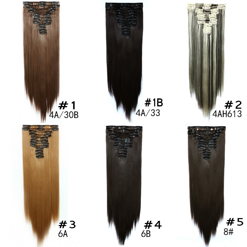 "Natural 60cm 24"" clip in on lifelike human straight hair extension blonde 12pcs/set 22 clips ins blended hair piece hairpiece"