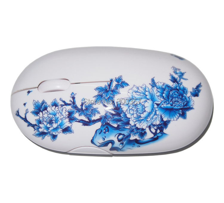 free shipping china Blue and white china porcelain gift 2 4GHZ wireless mouse personality gift wireless