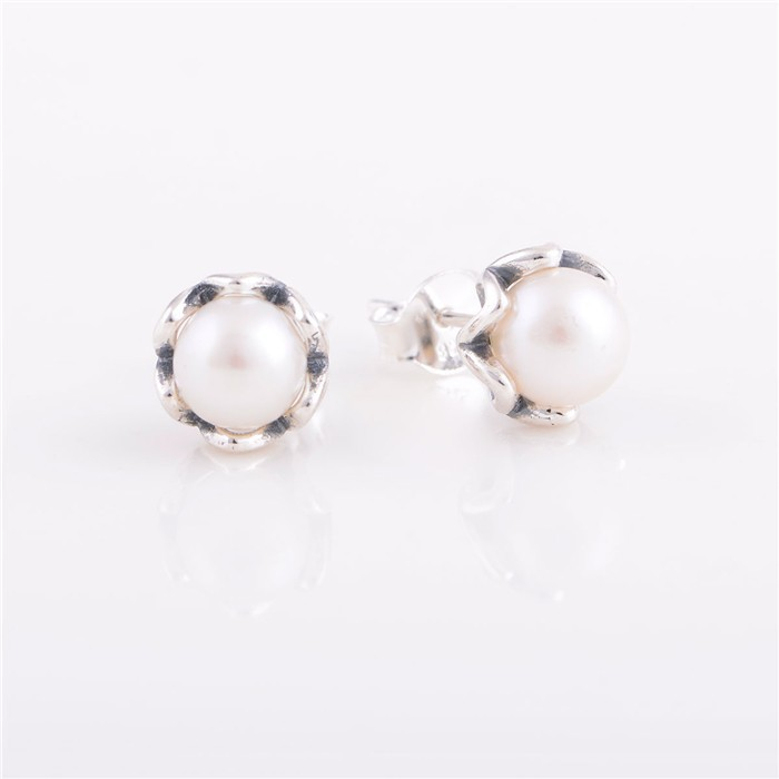New Freshwater Pearl Stud Earrings Authentic 925 Sterling Silver Jewelry Pearl Flower Earrings For Women Free Shipping ER102(China (Mainland))