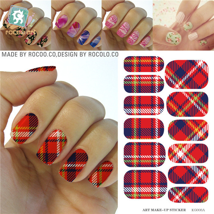 Fashion Red Blue White font b Tartan b font Design Nails Stickers Water Transfer Manicure Styling