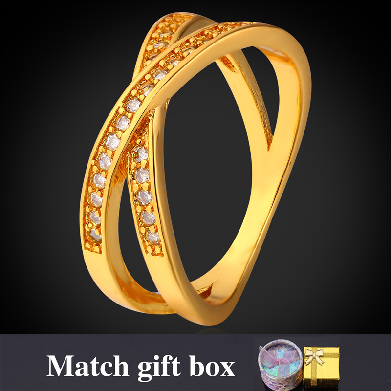 18K Real Gold/Platinum Plated Rings For Men/Women Fashion Jewelry With Gift Box Wholesale Intersect Zirconia Ring R1686(China (Mainland))